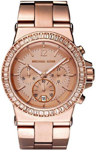 Michael Kors Watches Michael Kors Ladies Dylan Glitz Chronograph Rose Gold Dial