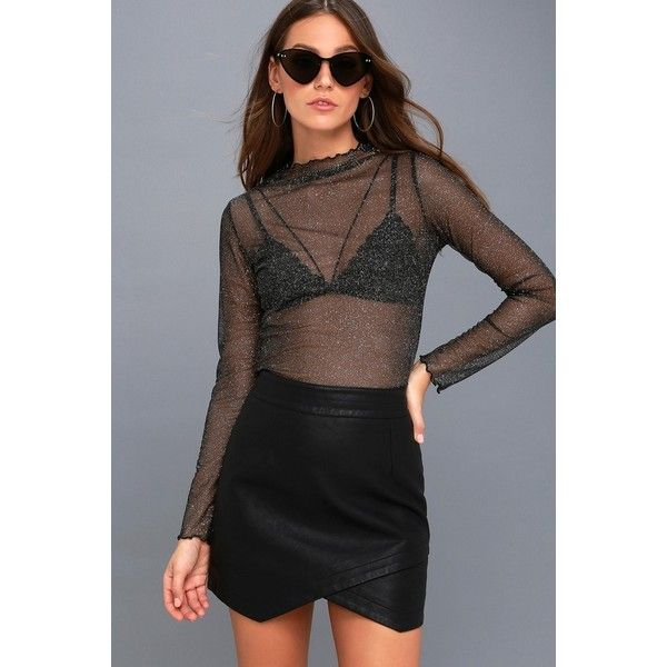 Lulus  Pass the Bubbly Sheer Black and Silver Long Sleeve Top ($28) ❤ liked on Polyvore featuring tops, black, glitter mesh top, bubble sleeve top, sheer mesh top, sleeve top and sheer top