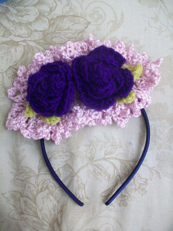 Crochet Lace Headband with flowers 2 ways to wear by BoutiqueChers, $15.00