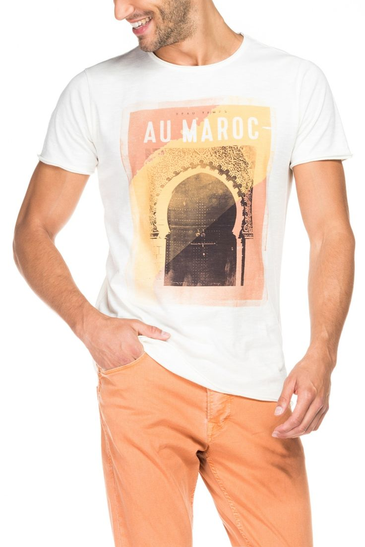 Polo fashion pas cher polo ralph lauren femme france polo de marque - Salsa T Shirt Avec Graphique Localis Orange Homme Mode V Tements Polos 300403501212356