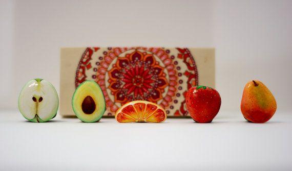 Dipinto in pietra, roccia verniciato ciottoli dipinti sasso dipinto una mano frigorifero magnete set Calamite frutta pera set avocado fragola mela arancia