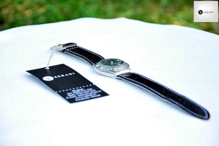Curea pentru ceas din piele naturala 2 -negru de fum -captusit cu piele maro -cusut cu ata alba  PRET: 50 lei