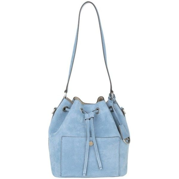 Michael Kors Shoulder Bags, MICHAEL Greenwich Medium Bucket Bag Suede... (7,150 MXN) ❤ liked on Polyvore featuring bags, handbags, shoulder bags, blue, white bucket bag, man shoulder bag, blue shoulder bag, handbags purses and hand bags