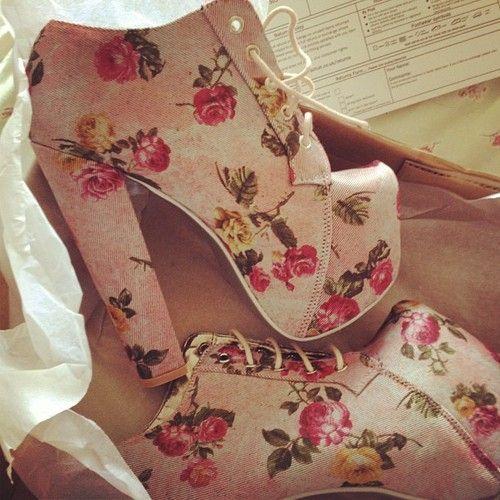 Women's Pale Pink Schuh Starlight Platform Boot Floral at Schuh - Polyvore