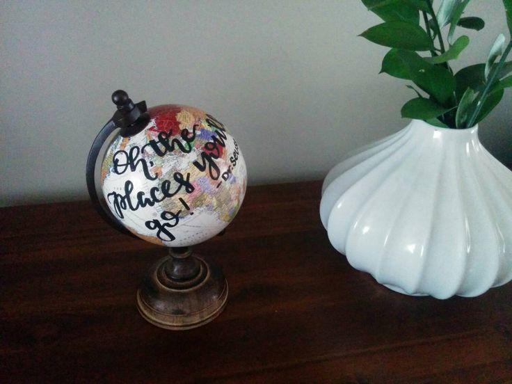home decor painted globe mini globe baby shower gift