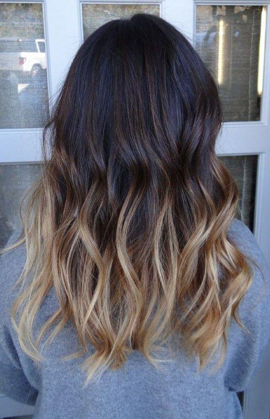warm blonde balayage on black hair