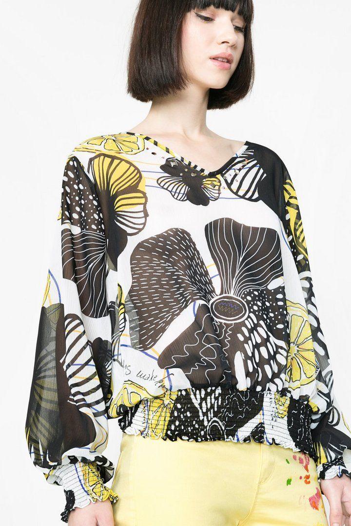 Blusa estampada semi-transparente | Desigual.com D