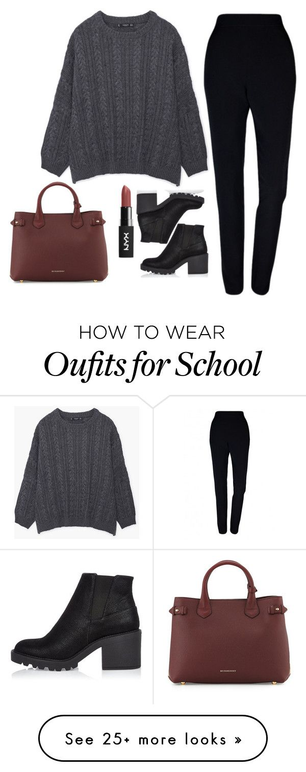 """""""School look #3"""" by ggerasimenko on Polyvore featuring MANGO, Plakinger, Burberry and River Island"""