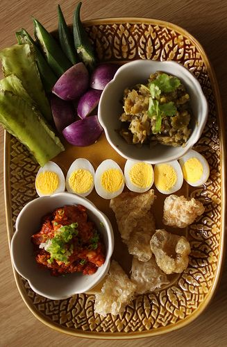 Asian Specialty Dish NAM PRIK (Thai Spicy Paste): Roasted Green Chili Salsa and Sweet Pork and Tomato Salsa served with Quail Eggs, Pork Rinds, Okra and Baby Eggplant #NationalSalsaMonth