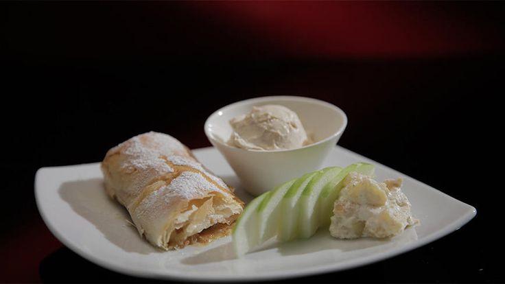 Crisp Apple Cigars with Cinnamon Ice-Cream