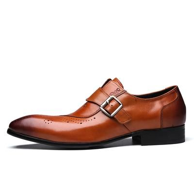 Italian Style <b>Cow Leather</b> Monk Strap Formal Loafers Shoes Men ...