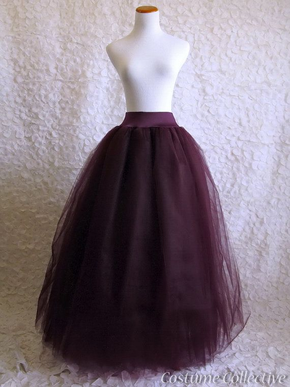 Long Deep Purple Tulle Skirt