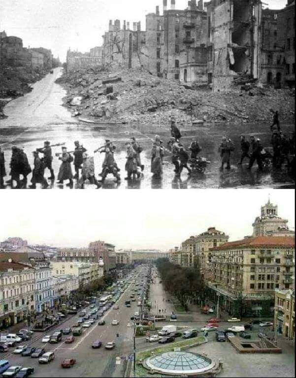 Then & Now, Kiev, Kreschatik Street, Ukraine, USSR.