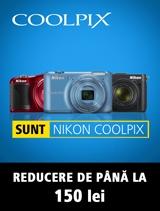 In perioada 31 ianuarie - 21 februarie 2013 poti achizitiona oricare aparat foto Nikon COOLPIX beneficiind de o REDUCERE de pana la 150 lei.