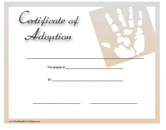 This certificate of adoption is suitable for a baby boy or baby girl and displays a graphic of a handprint. Free to download and print