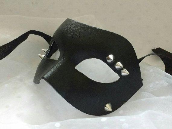 Black #mask  #masquerade mask  #masks for #men  #spikes #goth #punk by MasksbyDebbsElliman