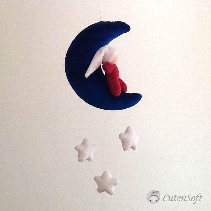 "Organic Baby  Mobile - "" Little Gnome Mobile: Azure blue moon and 3 little white stars"", Baby crib mobile, Moon mobile,  star mobile by CutenSoft on Etsy https://www.etsy.com/listing/181793498/organic-baby-mobile-little-gnome-mobile"