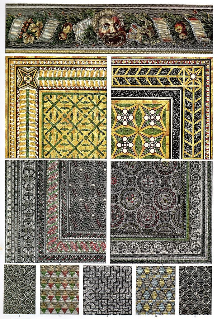 Ancient Roman Mosaic Floors, many originating in Pompeii. Mosaic and bright rich colours were used heavily in ancient roman interior design