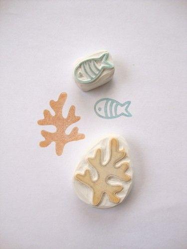海底世界 橡皮图章, Stamp Carving Patterns, Simple Printmaking for Kids , Carving with  Eraser Carving, Stamps , Printing, Carving Tools, Pattern, Template, Idea, Art Teacher, Art  Design, DIY , Japanese, Activities for Kids,Fish, Seaweed
