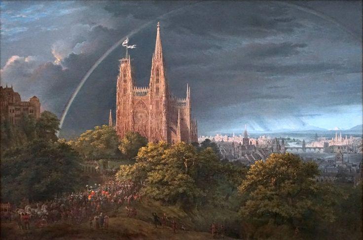 Karl Friedrich Schinkel (1781-1841) Cité médiévale au bord d'une rivière, 1815 Huile sur toile Alte Nationalgalerie Berlin