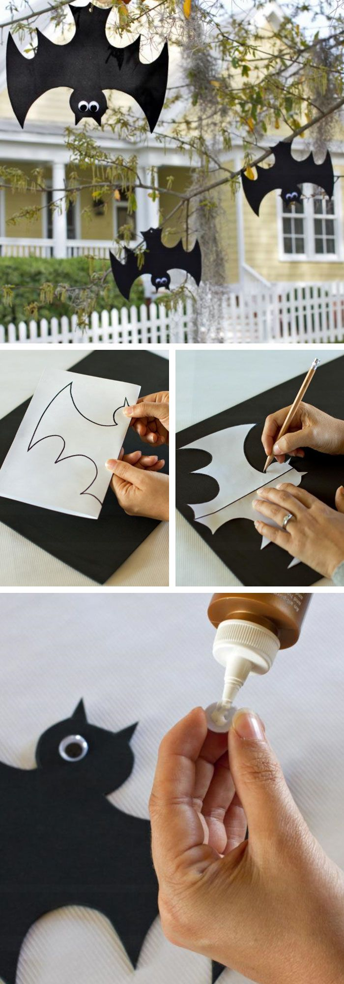 Hanging Foam Bats | Click Pic for 20 DIY Halloween Decorations for Kids to Make | Cheap and Easy Halloween Decorations on a Budget