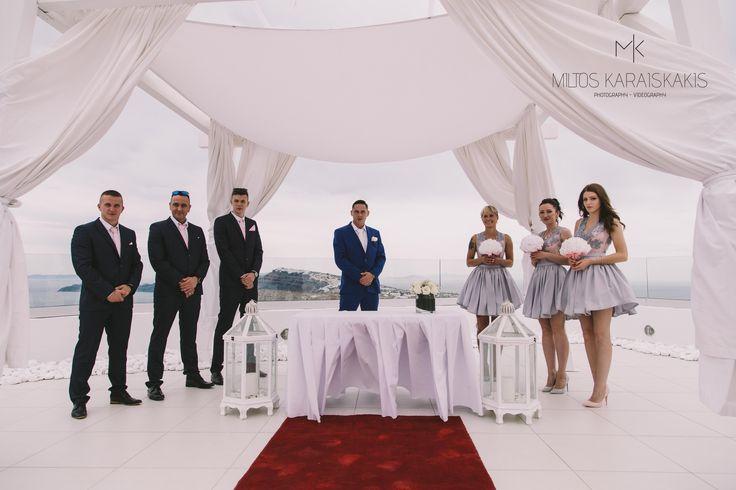 #weddingideas #weddingphotographer #red #capret #white #before #wedding #decoration #unique #view #volcano #ship #groom #waiting #bride #bridesmaid #oia #mykonos #folegandros #santorini #Greece #miltoskaraiskakis