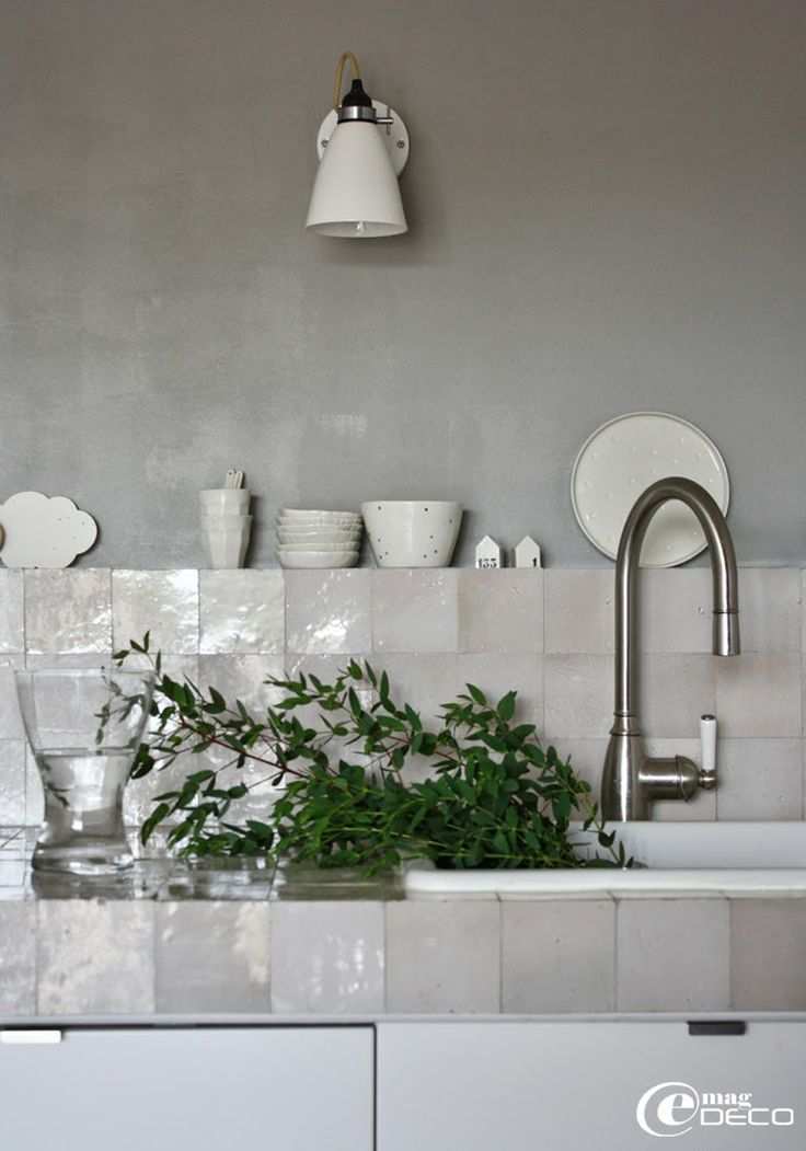 Beautiful white/ Blanc Zelliges in Kitchen
