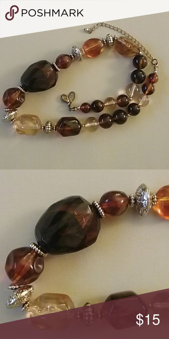 Park Lane Necklace Amber stones/beads with gold beads ...
