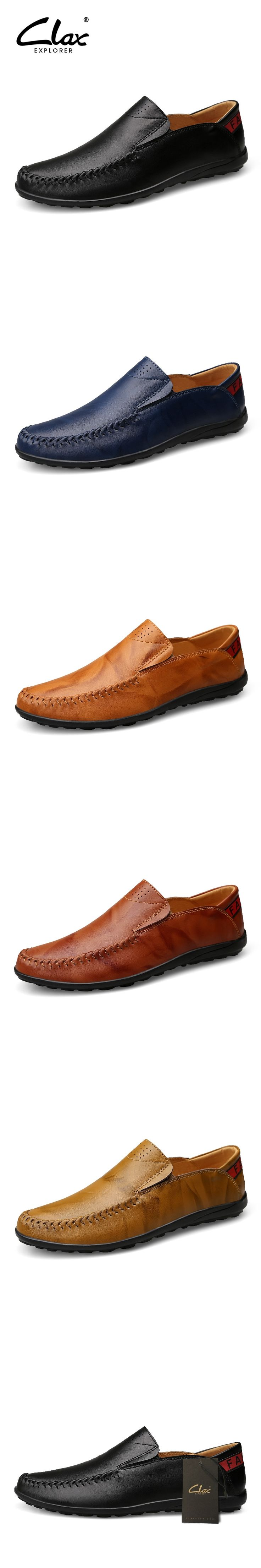 Clax Men Loafers Genuine Leather 2017 Spring Summer Men's Designer Flat Shoes Casual Driving Shoe Moccasin Luxury Brand
