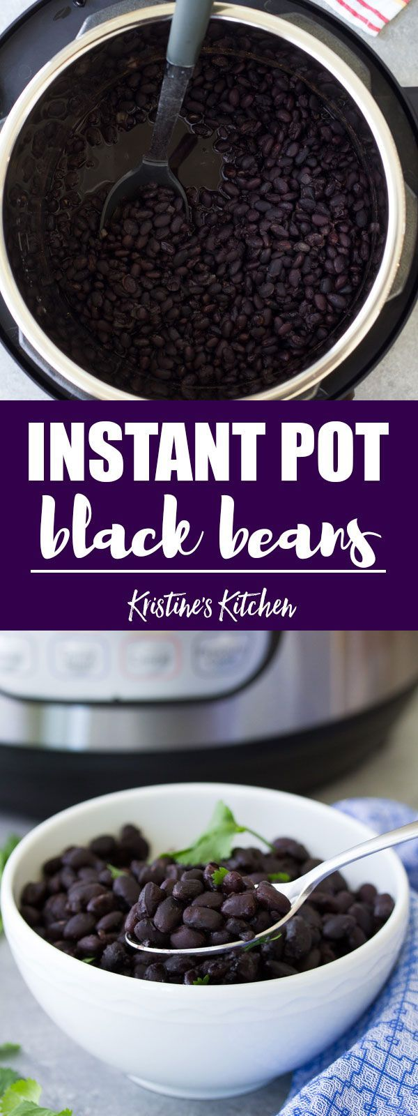 These Mexican black beans are easy to make in your Instant Pot or pressure cooker, with no soaking required! These Instant Pot Black Beans freeze well so you can meal prep a big batch. This post also includes directions for how to cook dried black beans in your Instant Pot for baking (without seasoning). Recipe is vegan and an easy way to cook dried beans. #instantpot #pressurecooker #mealprep