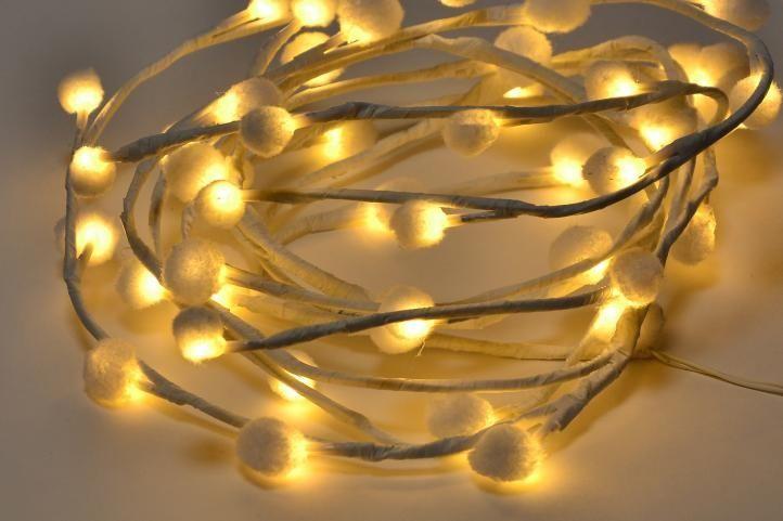 Ozdobny łańcuch LED płatki śniegu ciepła biel Polandi