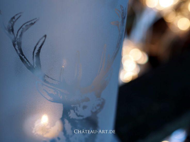 Windlicht Glas Matt Dekor Hirsch