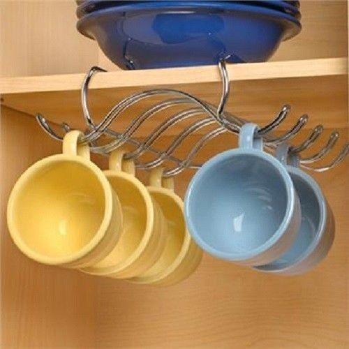 Amazing Under Shelf Coffee Cup Mug Holder Hanging Rack Cabinet Mount Organizer  Kitchen