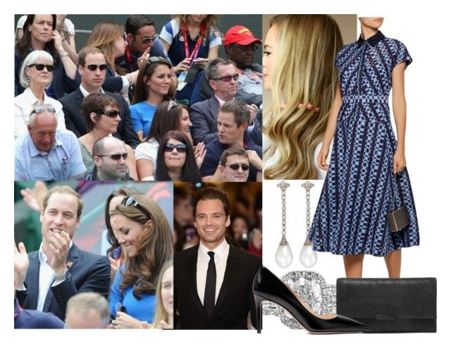 """""""Watching the match between Andy Murray of Great Britain and Nicolas Almagro of Spain in the Quarterfinal of Men's Singles Tennis on Day 6 of the Olympics Games at Wimbledon with Thomas, William and Kate"""" by alexandraofwales ❤ liked on Polyvore featuring Lela Rose, Sebastian Professional, Loeffler Randall and Prada"""