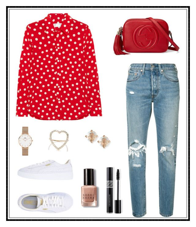 """#166"" by e-elmedal on Polyvore featuring Levi's, Yves Saint Laurent, Puma, Gucci, Jennifer Meyer Jewelry, Daniel Wellington, Suzanne Kalan, Bobbi Brown Cosmetics and Christian Dior"