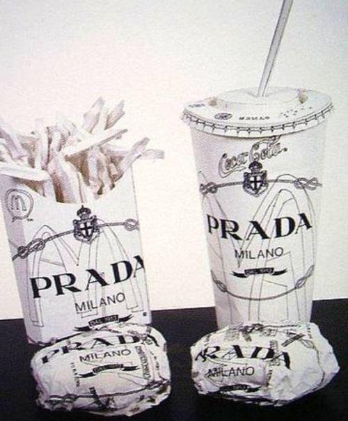 nice idea: Prada fast food packaging (even though I wonder in what world the brand values of Prada and fast food chains could ever match)