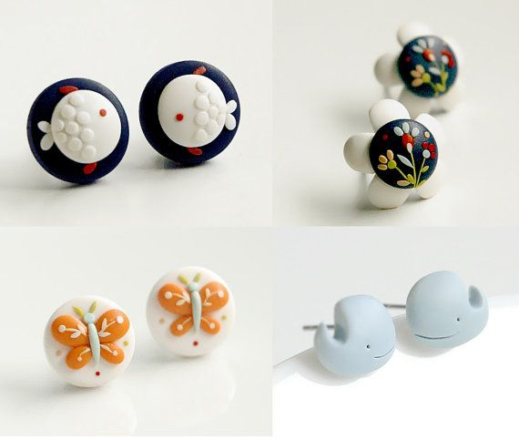 RESERVED for Wang Yujiao. Set of six handmade polymer clay beauties. Made to order