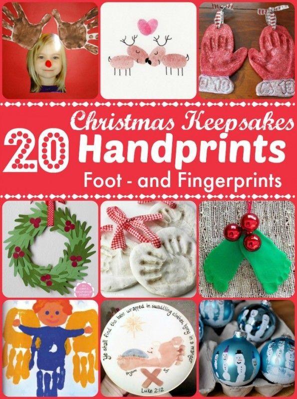Christmas Keepsakes - wonderful Handprint Crafts for Kids to make. Over 20 ideas using handprints, footprints and fingerprints to make gorgeous keepsakes