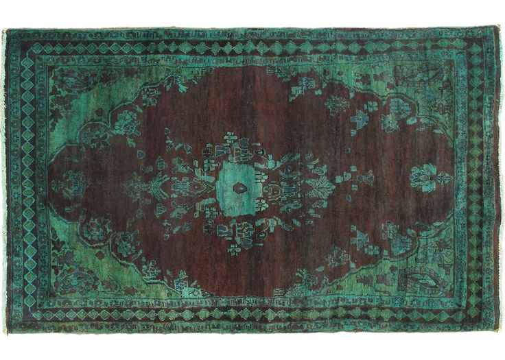 """4'0"""" x 6'6"""" Color Transition Rug in Aqua and Dark Red"""