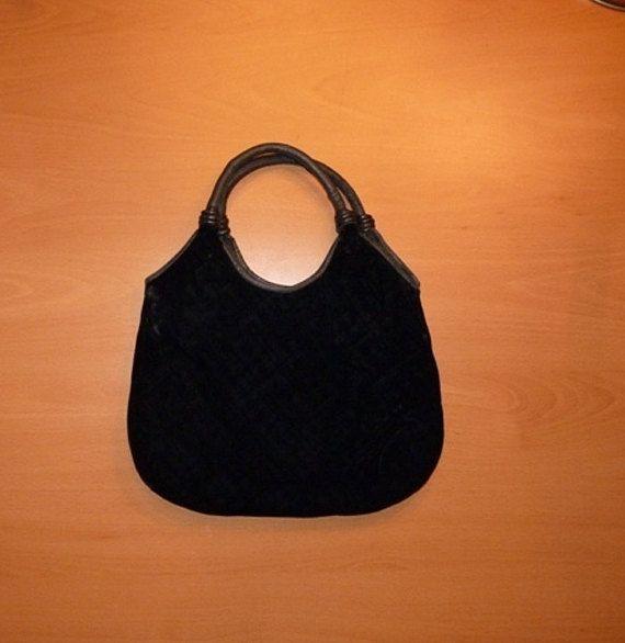borsa nera velluto-pelle-Vintage 1960/1970