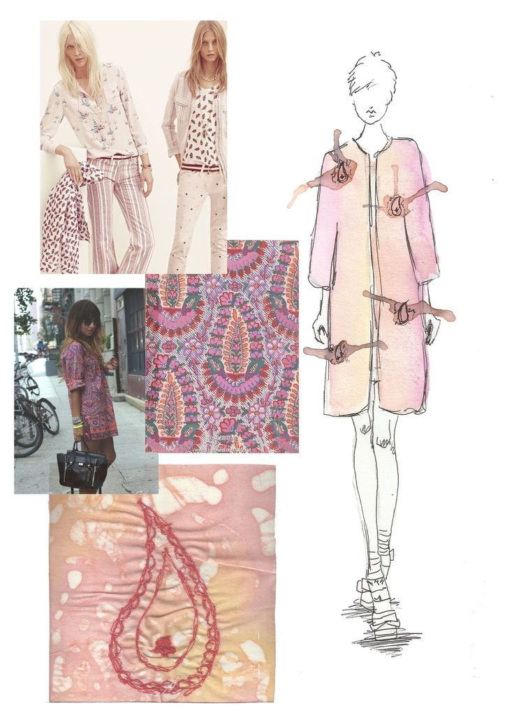 Fashion Sketchbook - delicate watercolour fashion drawing, pattern inspirations & interpretation; drawing with stitch - the fashion design process // Sarah Davies