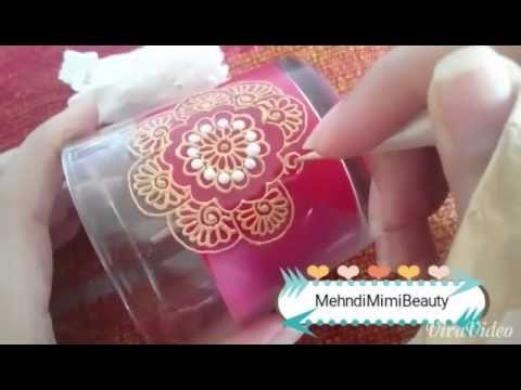 Diy easy Henna candle..bougie verre décorée - YouTube