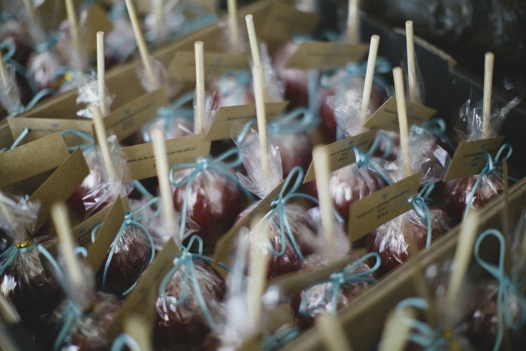 Toffee Apples as bomboniere. Image: Cavanagh Photography http://cavanaghphotography.com.au