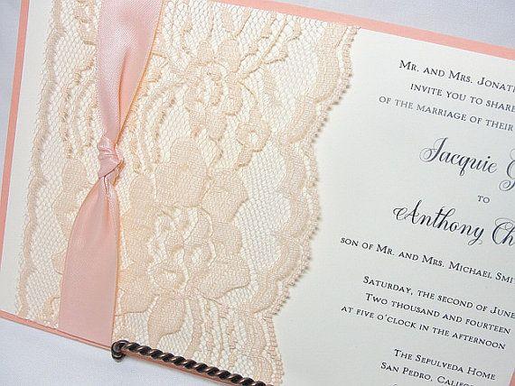 NINA - THIN KNOT Lace Wedding Invitation, Invite, Vintage, Shabby Chic, Couture on Etsy, $506.25