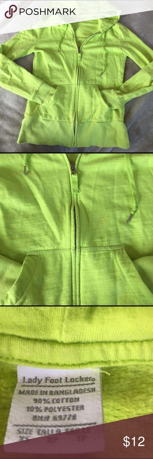 Neon green zip up hoodie from LFL Very lightly loved zip up hoodie with pockets. Hoodie has drawstrings lady foot locker Tops Sweatshirts & Hoodies