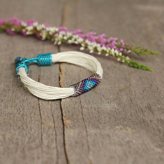 Organic linen bracelet ethnic colorful bracelet by Naryajewelry, $30.00