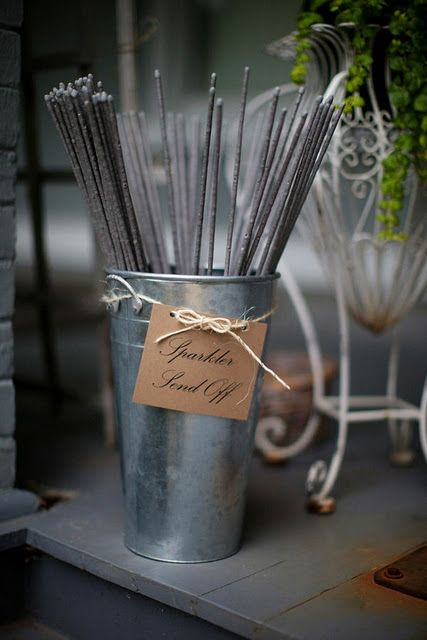 sparklers are a super cute wedding favor & perfect for an outdoor reception