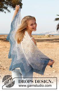 """Gehaakte DROPS omslagdoek met zigzag patroon van 2 draden """"BabyAlpaca Silk"""". ~ DROPS Design"""