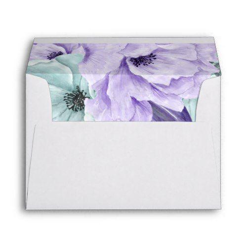 a67d5de144e2 White Mint Lavender Purple Watercolor Peonies Envelope | Zazzle.com ...