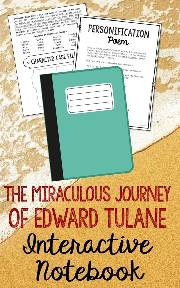 The Miraculous Journey of Edward Tulane by Kate DiCamillo. Low Prep and Stress-Free Interactive Notebook. This unit includes vocabulary terms, poetry, author biography research, themes, character traits, one-sentence chapter summaries, and note taking activities. A great variety of activities to keep your students engaged! This is a complete unit, but can be added to the materials you already have on hand. I use this INSTEAD of multiple choice comprehension tests and my students are super…